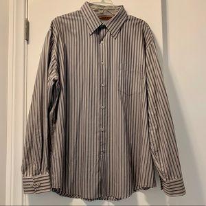 Men's Perry Ellis Gray Striped Button Down Shirt